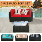 3 Pcs Patio Outdoor Wicker Rattan Furniture Garden Sofa Set Cushions Table Couch