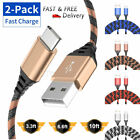 2 Pcs 3/6/10 Ft Braided USB C Type-C Fast Charging Data SYNC Charger Cable Cord
