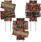 Halloween Decorations Beware Signs Yard Stakes Outdoor Creepy Warning Signs