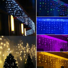 39FT LED Curtain Icicle String Fiary Light Lamp Garland Christmas Decor Outdoor