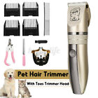 Pet Dog Cat Electric Hair Clipper Toes Trimmer Grooming Shaver Set Low Noise Kit
