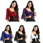 US Women's Bell 3/4 Length Flare Sleeves Front Tie Lace Bolero Cropped Shrug Top