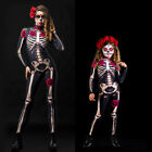 Halloween Costume Jumpsuit Skeleton Rose Flower Print Horror Cosplay Bodysuit