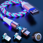 LED Flowing Glow 3 in 1 Magnetic Phone Charger Cable 3A for Type C Micro USB IOS