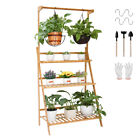 Heavy Duty Bamboo Ladder Plant Stand 3 Tier Foldable Flower Display Shelf Rack