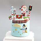 1set Merry Christmas Letter Cake Topper Santa Claus Snowman Cake Decoration Hoae