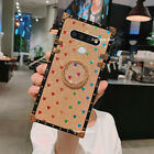 For LG Stylo 6 Q730 Square Case Luxury Blu Ray Flower Love Glitter Leather Cover