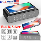 3in1 LED Smart Alarm Clock Wireless Phone Charger Wireless Charging Pad Station~