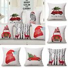 2 X Merry Christmas Cotton Linen Square Decorative Throw Pillow Case Cushion