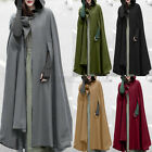Women Woolen Trench Coat Open Front Cardigan Jacket Coat Cape Cloak Poncho Plus