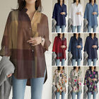 ZANZEA Womens Cotton Long Sleeve Shirt Loose Button Down Office Wear Tops Blouse