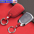 Leather Remote Fob Key Case Cover Shell For Cadillac Escalade XT5 CTS Keyless