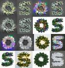 Pre-Lit LED Christmas Wreath Door Wall Hanging Ornament Garland Xmas Decor