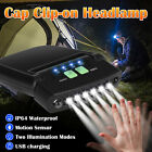 6-LEDs Outdoor Bright USB Rechargeable Clip On Hats Sensor Rotatable Head Lamp