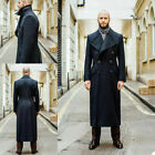 Business Wool Notch Lapel Overcoat Men Suits Double Breasted Formal Long Coats