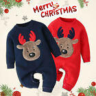 Newborn Infant Baby Boy Girls Long Sleeve Christmas Deer Romper Jumpsuit Clothes