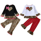 Toddler Kids Baby Girls Valentine's Day Heart Leopard Print Tops Pants Outfits