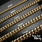 """Stainless Steel Cuban Curb Chain Gold Tone 16""""-30"""" Mens Necklace 3/5/7/9/11mm"""