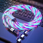 540° Rotable Magnetic Flowing Light Charging Charger Cable For iOS Type-C Micro