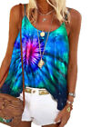 Womens Tie-Dye Printed Sling Tops Round Neck Sleeveless Vest Loose style T-Shirt