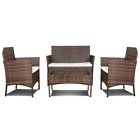 Outdoor 4PCS Patio Ratten Garden Furniture Sofa Set Table + Chair + Cushion UK