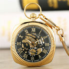 Mens Vintage Square Dial Hand-winding Mechanical Pocket Watch with Pendant Chain