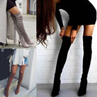 Ladies Womens Thigh High Boots Over Knee Stretchy Block Mid Heels Shoes Size