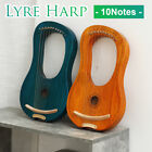 Lyre Harp 10 String Mahogany Body Bone Nut w/ Tuning Wrench for Beginner Pickup