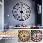 31 Wall Clock Big Roman Numerals Giant Open Face Metal Home Decor Vintage Style