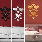 10pcs 3d Love Heart Mirror Wall Sticker Stick On Decal Home Bedroom Decor