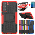 For Samsung S21 S20 FE A72 Shockproof Hybrid Kicktand Case+Tempered Glass Cover