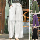 Women High Waist Pants Oversize Summer Casual Basic Wide Legs Long Trousers Plus