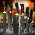 6 Pcs Kitchen Cook Knives Set Japanese Damascus Style Stainless Steel Chef Knife