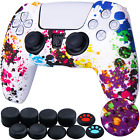 Cool Silicone Cover Skin Case for Sony PS5 Controller with Pro Thumb Grips!