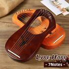 7 String Lyre Harp Mahogany Tuning Wrench For Beginner Musical Instrument Gift