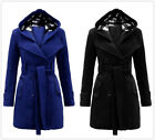 Double-breasted Belt Women's Slim Long Coat With Hat Tops Blouses S-3XL