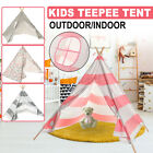US Large Teepee Tent Kids Cotton Canvas Pretend Play House Boy Girls Wigwam Gift
