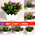 20 Heads Artificial Lily Flower Potted Plant In Pot Outdoor Home Garden Decor