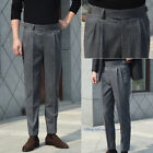 Worsted Flannel Thin Gurkha Pants Men's Straight Trousers Suit Pants Business