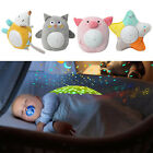 Soft Animal Plush Toys Starry Night Light Projector with Music for Babies