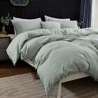 Andency Pom Pom Fringe Duvet Cover Queen Size (90x90 Inch), 3 Pieces (1 Solid Sa