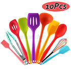10pc Silicone Heat Resistant Non-stick Grip Soup Spoon Colander Cooking Utensils