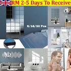 Glass Mirror Tiles Wall Sticker Square Self Adhesive Stick Home Decor On Art Uk