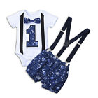 Toddler Baby Boys Gentleman One-year-old Birthday Romper Straps Shorts Outfits
