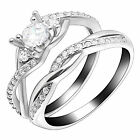 Contessa Bridal Set Sterling Silver Engagement Ring Cz Womens Ginger Lyne