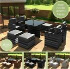 Rattan Garden Furniture 8 Seater Dining Table Cube Set With Arm Chairs & Stools