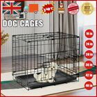 Dog Cage Pet Puppy Crate Carrier with Tray Folding Training Kennel S M L XL XXL