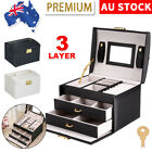 Large Jewellery Box Organizer Leather Ornament Ring Earring Display Storage Case