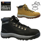 LADIES LEATHER SAFETY BOOTS STEEL TOE CAP HIKING ANKLE WORK SHOES TRAINERS SIZE