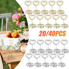 20/40PCS Mini Place Card Holder With Heart Shape Photo Steel Stand Wedding Decor